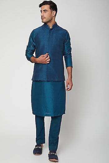 Pond Blue Bundi Jacket by SVA BY SONAM & PARAS MODI Men