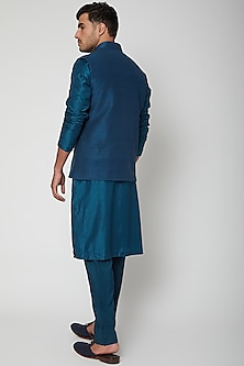 Pond Blue Bundi Jacket by SVA BY SONAM & PARAS MODI Men