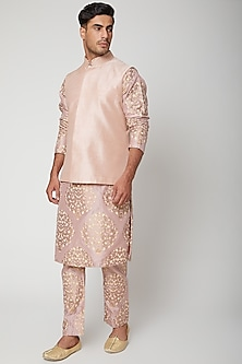 Blush Pink Bundi Jacket by SVA BY SONAM & PARAS MODI Men