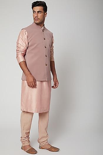 Old Rose Pink Bundi Jacket by SVA BY SONAM & PARAS MODI Men