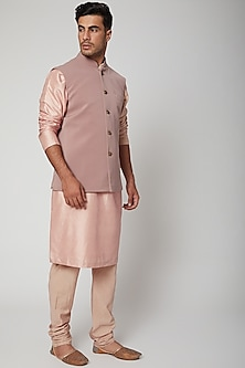 Old Rose Pink Bundi Jacket by SVA BY SONAM & PARAS MODI Men