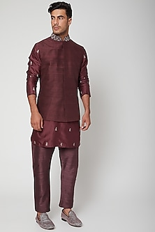 Merlot Maroon Embellished Bundi Jacket by SVA BY SONAM & PARAS MODI Men