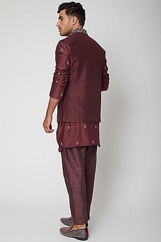 Merlot Maroon Embellished Bundi Jacket by SVA BY SONAM & PARAS MODI Men