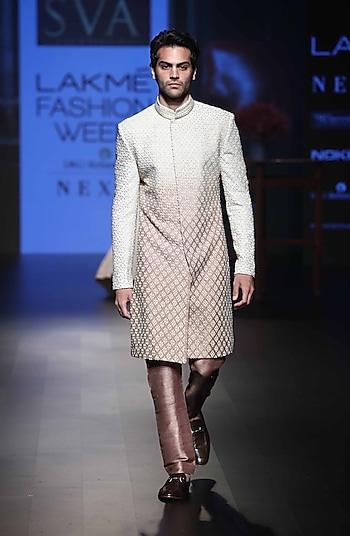 Ivory & Brown Ombre Embroidered Sherwani Set by SVA BY SONAM & PARAS MODI Men