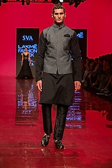 Black Tectured Bundi Jacket by SVA BY SONAM & PARAS MODI Men