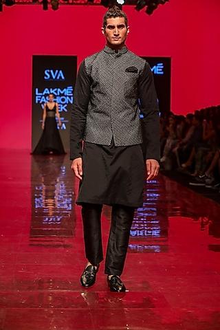 Black Tectured Bundi Jacket by SVA BY SONAM & PARAS MODI Men