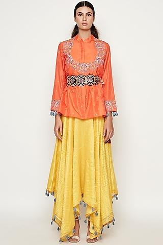 Yellow & Orange Asymmetrical Dress by Swati Vijaivargie