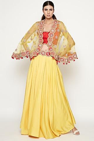 Yellow Embroidered Lehenga Set With Cape by Swati Vijaivargie