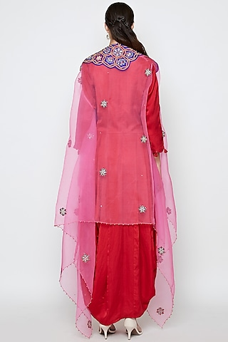 Red & Pink Embroidered Dress With Cape by Swati Vijaivargie
