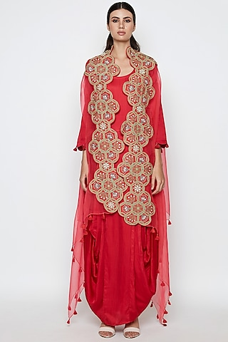 Red Embroidered Dress With Cape by Swati Vijaivargie