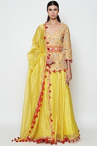 Yellow Embroidered Lehenga Set by Swati Vijaivargie