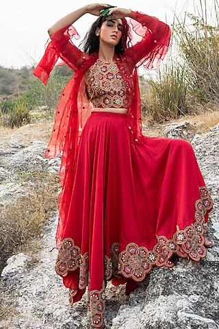 Red Embroidered Lehenga Set by Swati Vijaivargie