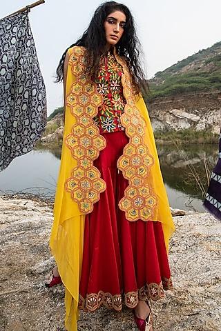 Red Embroidered Sharara Set With Cape by Swati Vijaivargie