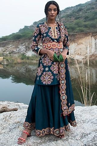 Teal Blue Silk Dress by Swati Vijaivargie