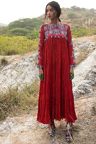 Red Silk Dress by Swati Vijaivargie