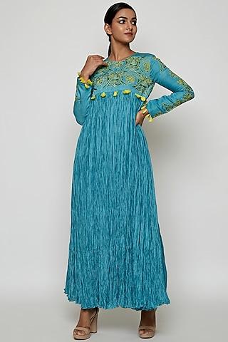 Aqua Blue Silk Dress by Swati Vijaivargie