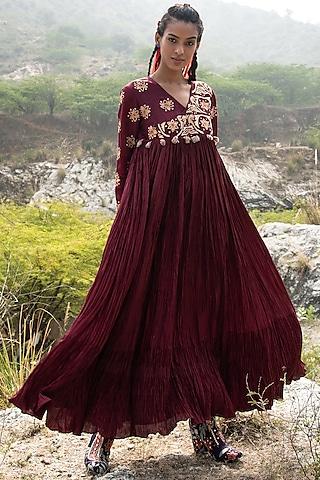 Maroon Crushed Silk Dress by Swati Vijaivargie
