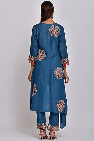 Teal Blue Embroidered Tunic Set by Swati Vijaivargie