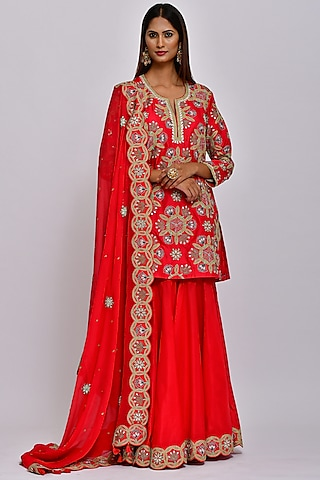Red Embroidered Sharara Set by Swati Vijaivargie