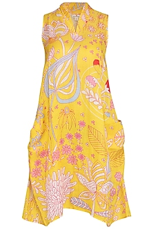 Yellow Jaal Printed Dress by Swati Vijaivargie