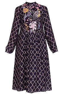 Navy Blue Printed Tunic by Swati Vijaivargie