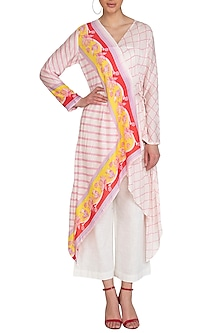 Ivory Striped Printed Wrap Tunic by Swati Vijaivargie