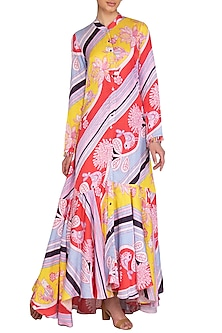 Multi Colored Printed Jacket Dress by Swati Vijaivargie