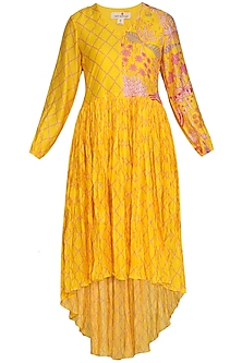 Yellow High-Low Printed Crushed Dress by Swati Vijaivargie
