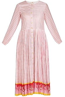 Ivory Crushed Stripe Printed Dress by Swati Vijaivargie