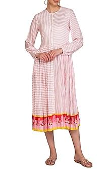 Ivory Crushed Stripe Printed Dress by Swati Vijaivargie