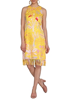 Yellow Jaal Printed Dress With Fringes by Swati Vijaivargie