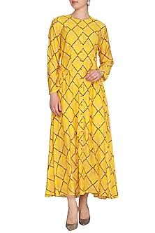 Yellow Printed Tunic Dress by Swati Vijaivargie