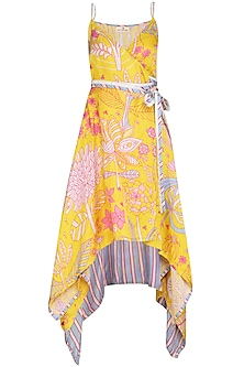 Yellow Jaal Printed Asymmetrical Wrap Dress by Swati Vijaivargie