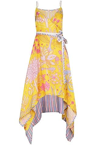 Yellow Jaal Printed Asymmetrical Wrap Dress by Swati Vijaivargie
