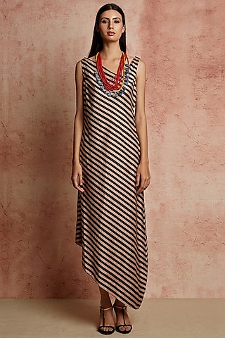 Beige & Black Striped Dress by Swati Vijaivargie