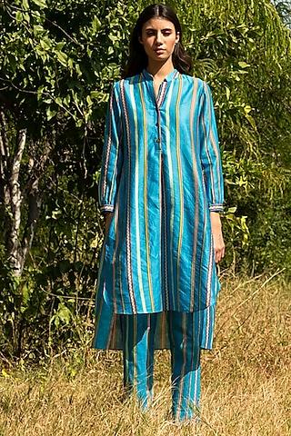 Turquoise Printed Tunic Set by Swati Vijaivargie