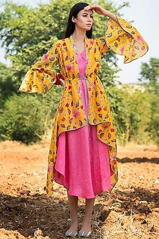 Yellow Printed Overlay Jacket With Dress by Swati Vijaivargie