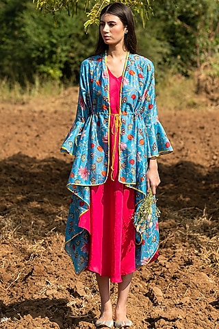 Turquoise Printed Overlay Jacket With Dress by Swati Vijaivargie