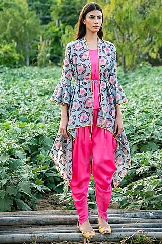 Grey Butti Printed Overlay Jacket Set by Swati Vijaivargie