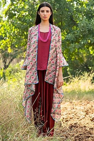 Beige Printed Overlay Jacket Set by Swati Vijaivargie