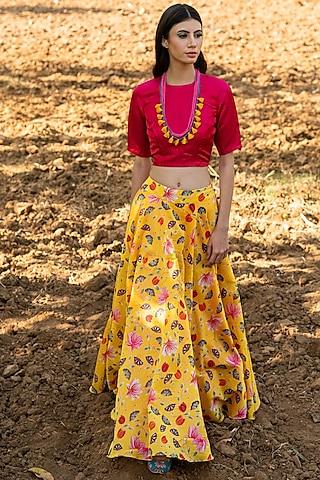 Pink & Yellow Printed Skirt Set by Swati Vijaivargie