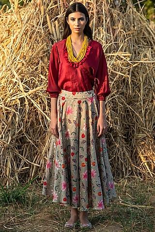 Maroon & Beige Printed Skirt Set by Swati Vijaivargie