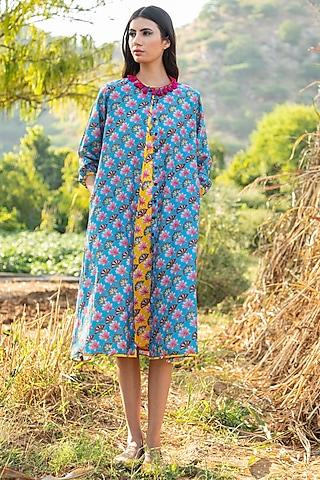 Turquoise Printed Paneled Jacket With Inner by Swati Vijaivargie