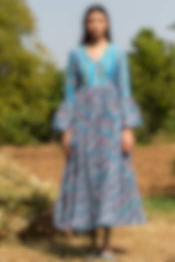 Turquoise Block Printed Dress by Swati Vijaivargie