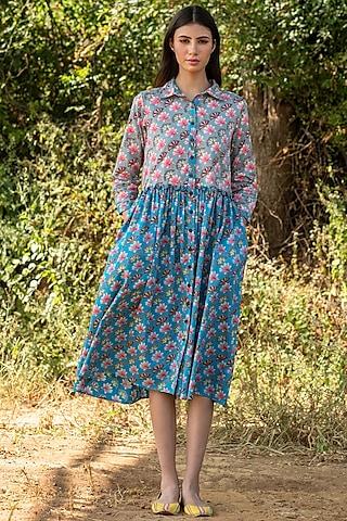 Turquoise Cotton Satin Printed Dress by Swati Vijaivargie