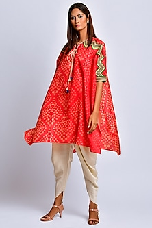 Orange Printed Kaftan by Swati Vijaivargie