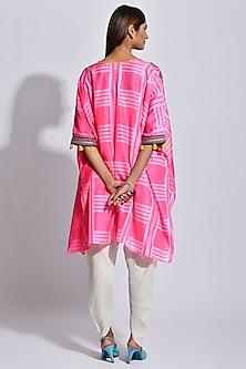 Pink & White Printed Kaftan by Swati Vijaivargie