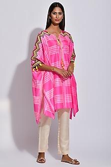Raspberry Pink & White Printed Kaftan by Swati Vijaivargie
