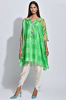 Lime Green & White Printed Kaftan by Swati Vijaivargie