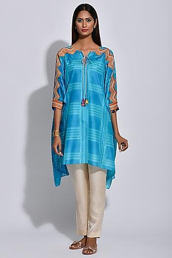 Turquoise & White Printed Kaftan by Swati Vijaivargie